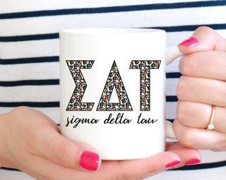 Sigma Delta Tau Leopard Mug