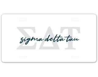 Sigma Delta Tau Letter Script License Plate