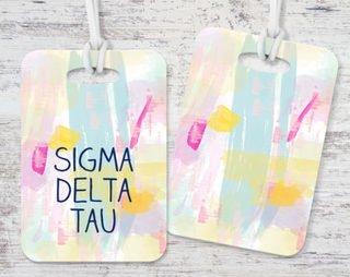 Sigma Delta Tau Pastel Strokes Luggage Tag