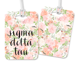 Sigma Delta Tau Personalized Pink Floral Luggage Tag