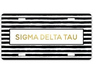 Sigma Delta Tau Striped Gold License Plate