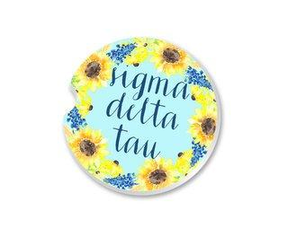 Sigma Delta Tau Sunflower Car Coaster