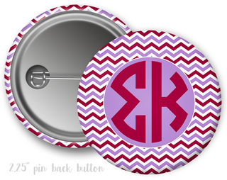 Sigma Kappa Chevron Monogram Button