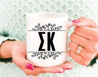 Sigma Kappa Floral Letters Mug