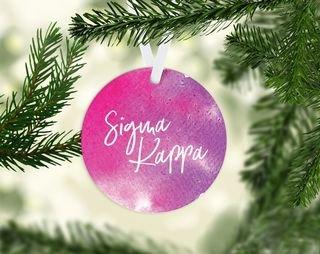 Sigma Kappa Round Acrylic Watercolor Ornament