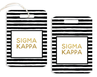 Sigma Kappa Striped Gold Luggage Tag