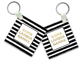 Sigma Lambda Gamma Striped Gold Keychain