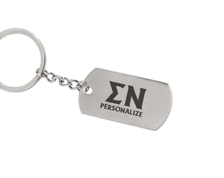 Sigma Nu Dog Tag Style Custom Keychain