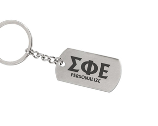 Sigma Phi Epsilon Dog Tag Style Custom Keychain