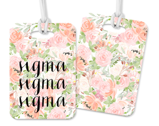 Sigma Sigma Sigma Personalized Pink Floral Luggage Tag