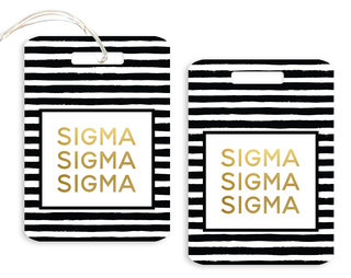 Sigma Sigma Sigma Striped Gold Luggage Tag