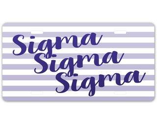 Sigma Sigma Sigma Striped License Plate