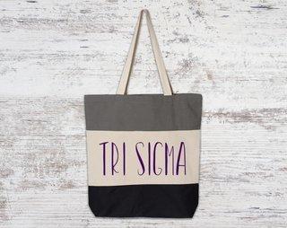 Sigma Sigma Sigma Tri Color Tote Bag