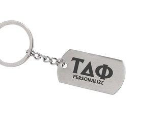 Tau Delta Phi Dog Tag Style Custom Keychain