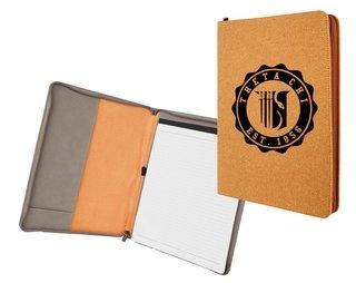 Theta Chi Leatherette Zipper Portfolio with Notepad
