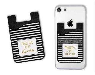 Theta Phi Alpha Gold Stripes Caddy Phone Wallet