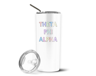 Theta Phi Alpha Pastel Letters Outline Stainless Tumbler