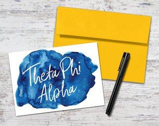Theta Phi Alpha Watercolor Script Notecards(6)