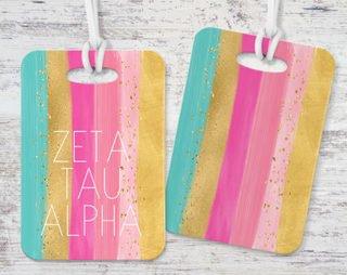 Zeta Tau Alpha Bright Stripes Luggage Tag