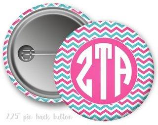 Zeta Tau Alpha Chevron Monogram Button
