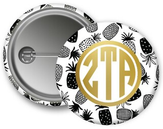 Zeta Tau Alpha Foil Pineapple Button