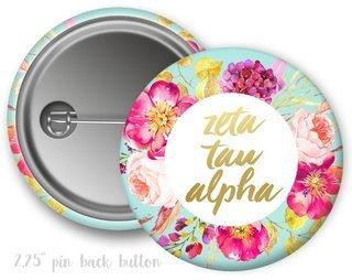 Zeta Tau Alpha Floral Spray Button