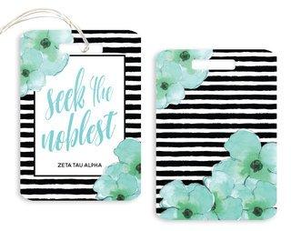 Zeta Tau Alpha Floral Motto Luggage Tag