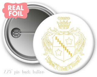 Zeta Tau Alpha Foil Crest - Shield Button