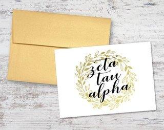 Zeta Tau Alpha Gold Wreath Notecards(6)
