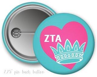 Zeta Tau Alpha Heart Crown Button