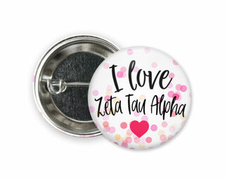 Zeta Tau Alpha I Love Heart Bursting Button