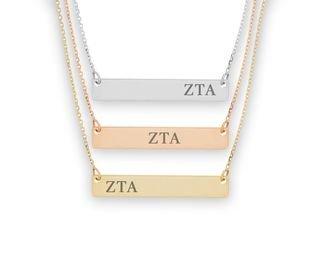 Zeta Tau Alpha Letters Bar Necklace
