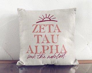 Zeta Tau Alpha Linen Sun Pillow
