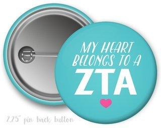 Zeta Tau Alpha My Heart Belongs to a Button