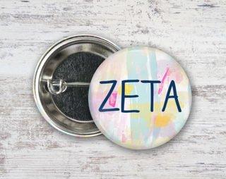 Zeta Tau Alpha Pastel Strokes Button