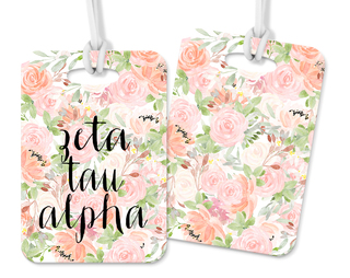 Zeta Tau Alpha Personalized Pink Floral Luggage Tag