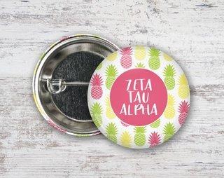 Zeta Tau Alpha Pineapples Button