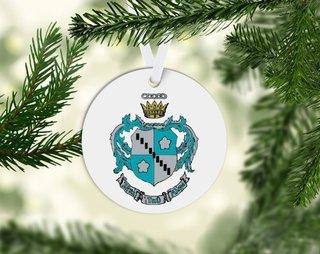 Zeta Tau Alpha Round Acrylic Crest - Shield Ornament