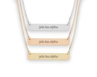 Zeta Tau Alpha Script Bar Necklace