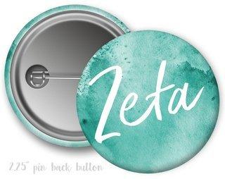 Zeta Tau Alpha Watercolor Script Button