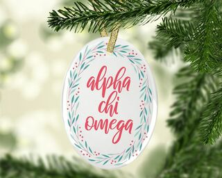 Alpha Chi Omega Festive Oval Ornament