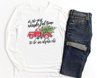 Alpha Chi Omega Red Truck Long Sleeve Tee