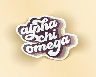 Alpha Chi Omega Retro Sticker