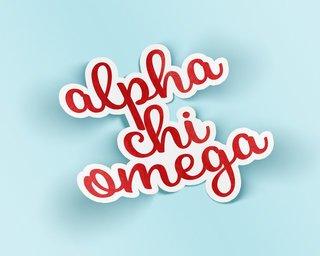 Alpha Chi Omega Watercolor Script Sticker Sticker
