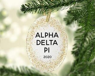 Alpha Delta Pi Gold Fleck Oval Ornament