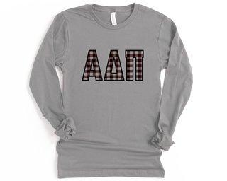 Alpha Delta Pi Plaid Letters Long Sleeve Tee