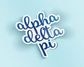 Alpha Delta Pi Watercolor Script Sticker Sticker