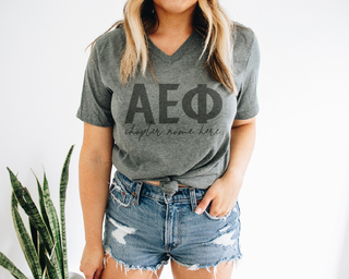 Alpha Epsilon Phi Chapter V-Neck Tee
