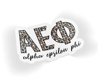 Alpha Epsilon Phi Leopard Sticker