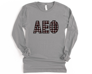 Alpha Epsilon Phi Plaid Letters Long Sleeve Tee